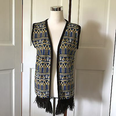 60s Vintage Knit Vest With Fringe Blue Yellow Tabby Sportswear