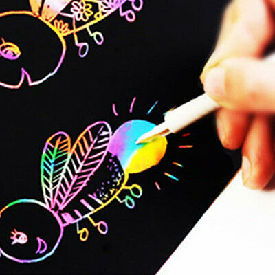 10PCS 16K Magic Scratch Art Painting Paper With Drawing Stick Colorful Kids Toy