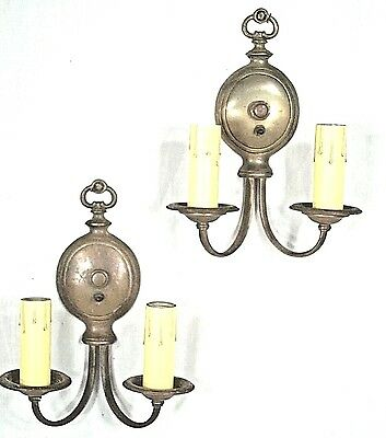 PAIR EARLY 20th CENTURY BRASS DOUBLE CURVED ARM CLASSICAL REGENCY SCONCES