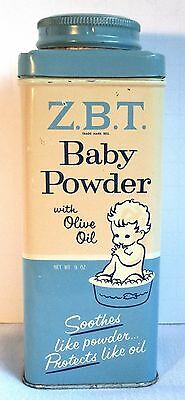 ZBT Baby Powder with Olive Oil Tin Sterling Drug includes some Talcum Powder VTG