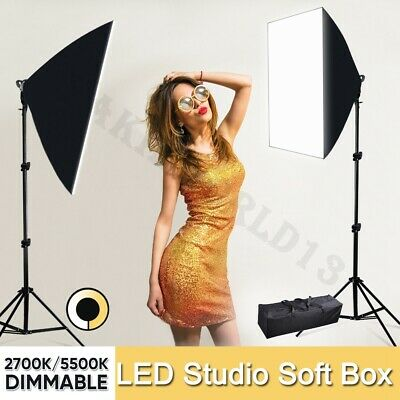 Photography Studio LED Dimmable Softbox Lighting Photo Soft Box Light Stand Kit