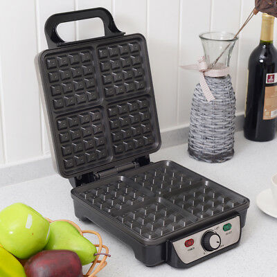 Stainless Steel Square Waffle Maker Bake Cook Machine W/ Non-Stick Plate 1100W
