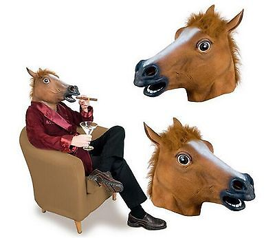 Fun Horse Head Rubber Mask Cosplay Halloween Party Adult Size Headgear Costume