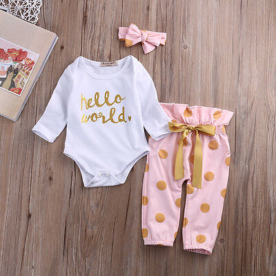 AU Infant Newborn Baby Girls HELLO WORLD Rompers +Pants Bodysuit Clothes Outfits