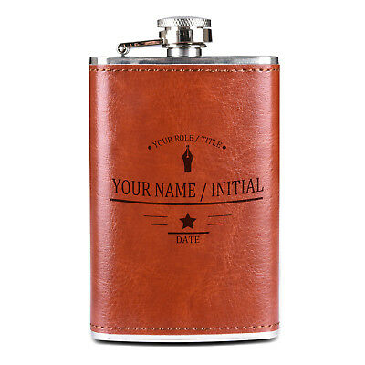 Personalized Leather Wrapped Flask - Wedding Groomsmen Gift - Free Engraving