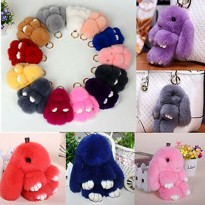 Cute Real Fur Bunny Fluffy Rabbit Toy Keyring Keychain Lady Bag Charm Pendant