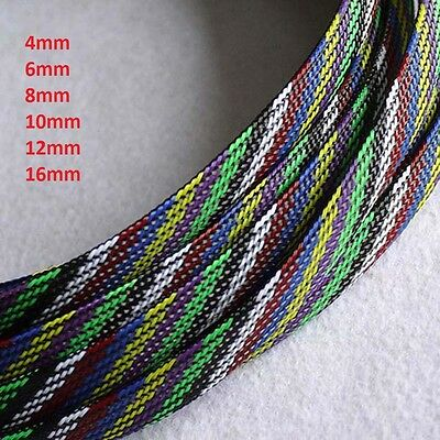 4mm-16mm Seven-Color Mixed Weave Expandable Braided Cable Sleeving/Sheathing