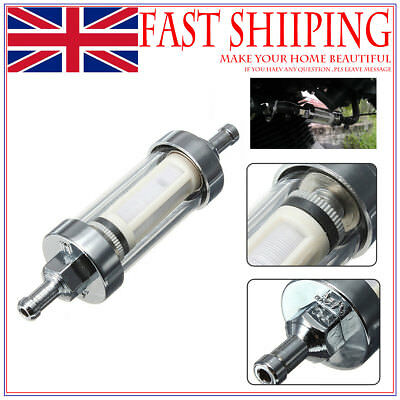 """Universal Motorcycle Clear Glass & Metal Fuel Filter 1/4"""" Gas Petrol Screen as07"""