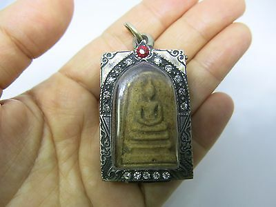 Somdej Buddha Phra Thai Amulet Wat Old Wood Powerful Thai angle Pendant Vintage