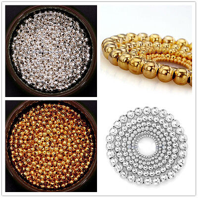Wholesale Lots Silver/Gold Plated Round Spacer Smooth Loose Beads Findings