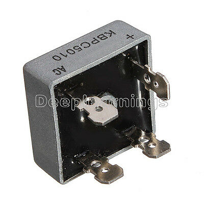 2pcs 50A 1000V Metal Case Single Phases Diode Bridge Rectifier KBPC5010 NEW
