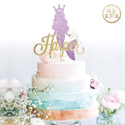 Mermaid Custom Glitter Cake Topper Mermaid Party Birthday Personalised Mermaid