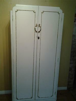 Vintage Louis style small fitted wardrobe hall robe white paint finish