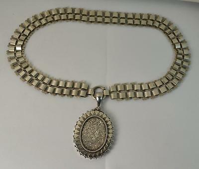 Rare and Impressive Solid Silver Victorian Locket and Choker Chain