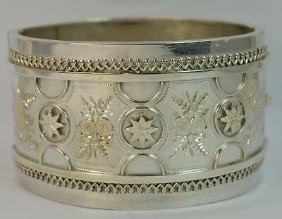 Large 1882 Victorian Aesthetic Movement Chester Silver Cuff Bangle