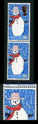 SG714 1966 1/6 Christmas with Missing Gold in Pair U/M
