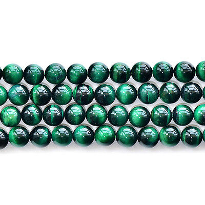 "Natural 5A Green Tiger's Eye Stone Gemstone Round Loose Beads 15"" 6 8 10 12mm"