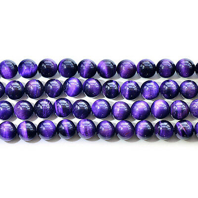 "Natural 5A Purple Tiger's Eye Stone Gemstone Round Loose Beads 15"" 6 8 10 12mm"