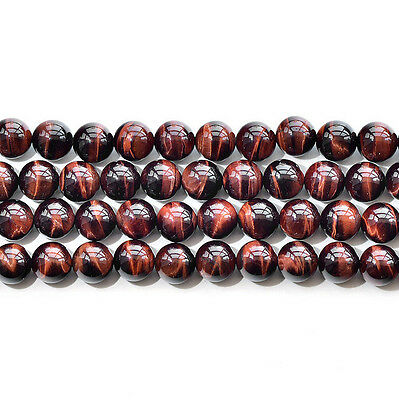 "Natural 5A Red Tiger's Eye Stone Gemstone Round Loose Beads 15"" 6 8 10 12mm"