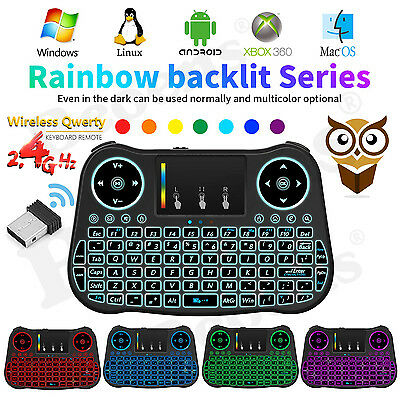 2.4Ghz Wireless Keyboard Backlit Air Mouse Touchpad For Android Smart TV Box PC