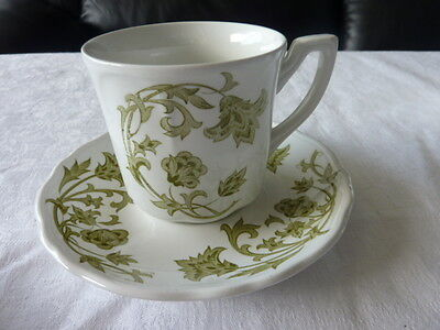 Royal Staffordshire Green Windsong Ironstone Cup Saucer Duo By J & G Meakin