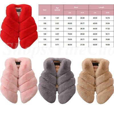 Kids Faux Fur Gilet Vest Waistcoat Warm Wrap Shrug Jacket Coat Outwear Overcoat