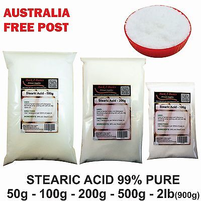 Stearic Acid - 50g to 900g - Emulsifier wax Vegetable soap candle making