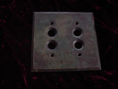 Vintage brass double push button switch wall plate