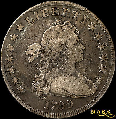 1799 F12 PCGS 1$ Draped Bust Dollar, Nice Toning Highlights Devices! MARC