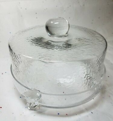 """VINTAGE Round Dimpled Glass Covered Three Legged Cheese / Dessert Plate 7""""x5.5"""""""