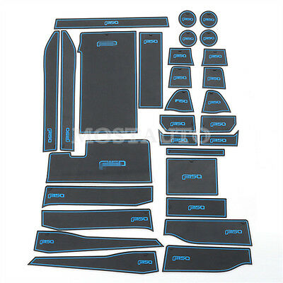 Inner Door & Cup & Box Mat 29pcs Blue Non-Slip For Ford F150 F-150 2015-2017