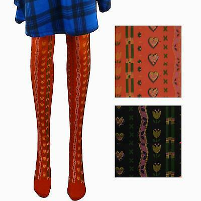 4 Pairs Of Girls Tulip & Love Heart Design Opaque Tights