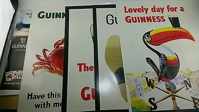 NOS Complete Classic Guinness Beer (5) PC Poster Promo Advertising Set Lot New!!