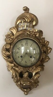 Carved Giltwood Swedish Cartel Clock Early 20th Century Wall Clock