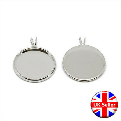 22mm Silver Tone Circular Round Pendant Fob Blank Settings Fits 20mm Cabochons