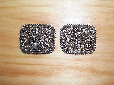 Early Victorian French Cut Steel Shoe Clips Marked France Very Old Original