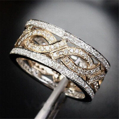 Prom 925 Silver White Topaz Engagement Wedding  Infinity Band  Ring Size 6-10