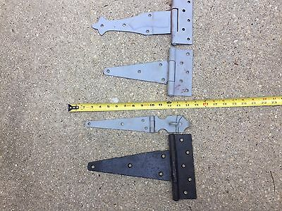 LOT antique ? 4 piece BARN DOOR HINGE STRAPS  AMISH ? IRON