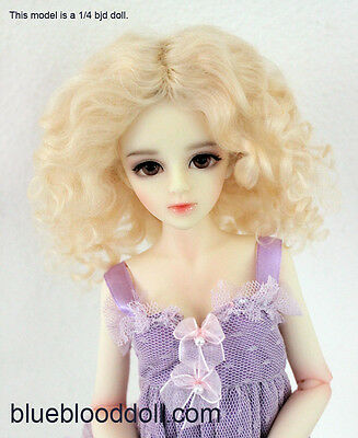 """1/4 or 1/6 bjd 6-7"""" doll wig blonde curly real mohair dollfie YOSD Lati JD-039"""