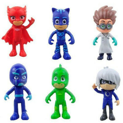 6pcs PJ Masks Catboy Owlette Gekko Cloak Action Figures Doll Kids Boy Girl Toys