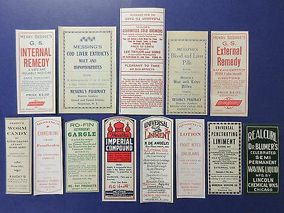 13+Old Pharmacy-Apothecary-Medicine Bottle Labels=Vintage Ephemera Lot==