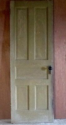 Vintage 1800's Wood Door Old Antique 5 Panel Solid Wood Victorian Farmhouse Door