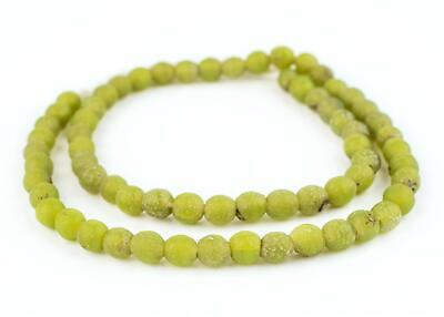 Lime Green Ancient Style Java Glass Beads 9mm Indonesia Round Large Hole