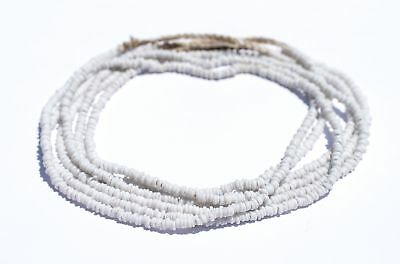 White Java Glass Heishi Beads 4mm Indonesia Large Hole 23 Inch Strand