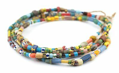 Medley of Old Ghana Trade Beads 6mm African Multicolor Mixed Glass Large Hole