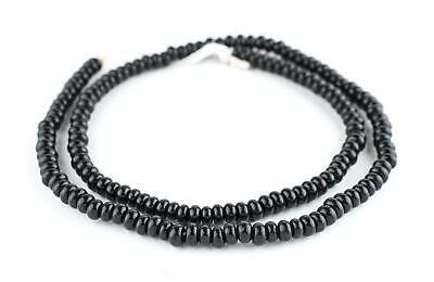 Black Java Glass Donut Beads 6mm Indonesia Disk Large Hole 24 Inch Strand