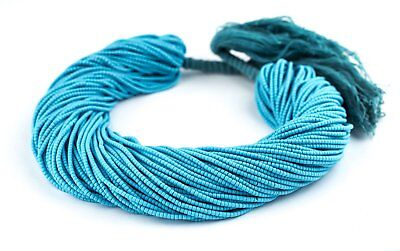Turquoise Blue Afghani Tribal Seed Beads 2mm Afghanistan Glass 13.5 Inch Strand