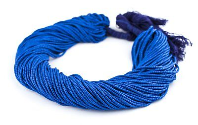 Blue Afghani Tribal Seed Beads 2mm Afghanistan Glass 13.5 Inch Strand