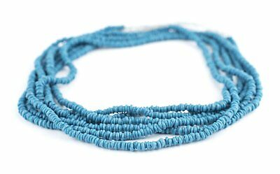 Sapphire Blue Java Glass Heishi Beads 4mm Indonesia Large Hole 23 Inch Strand