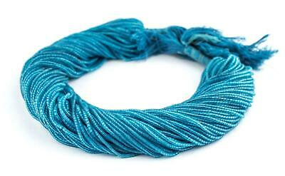 Celeste Blue Afghani Tribal Seed Beads 2mm Afghanistan Glass 13.5 Inch Strand